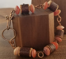 Load image into Gallery viewer, Wood and Sunstone Copper Wire Wrap Bracelet