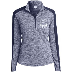 LST397 Ladies' Electric Heather Colorblock 1/4-Zip Pullover