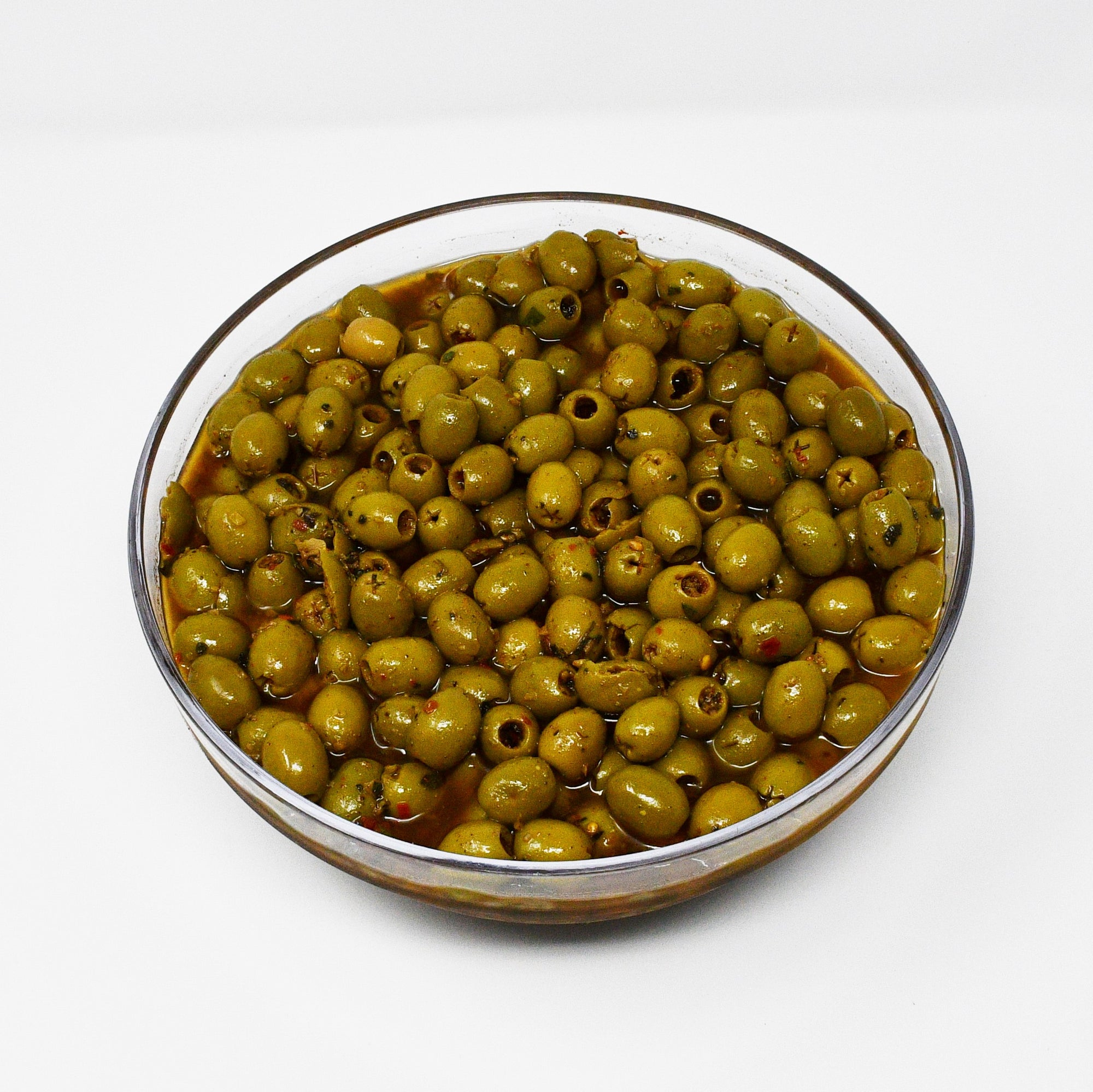 GREEN SPICY OLIVES (100g)