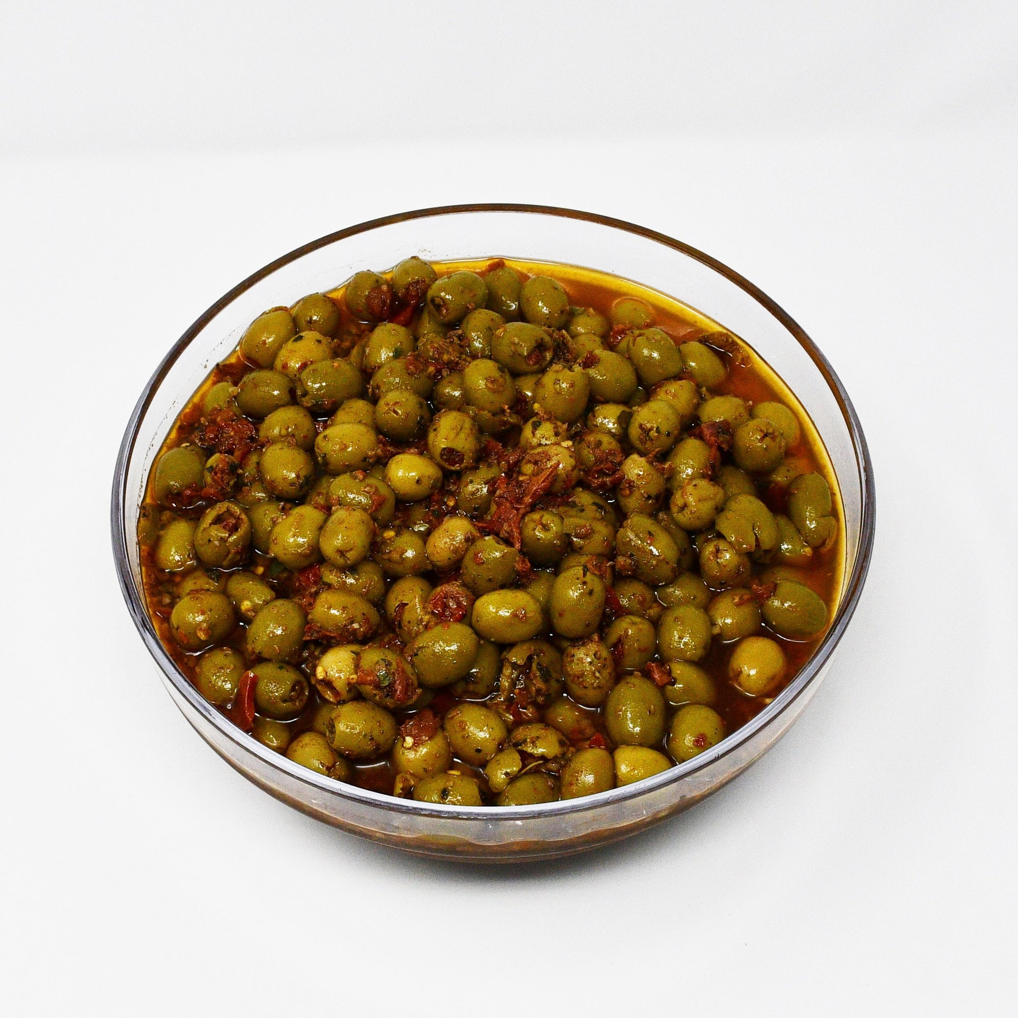 STUFFED GREEN OLIVES WITH SUNDRIED TOMATOES  (100g)