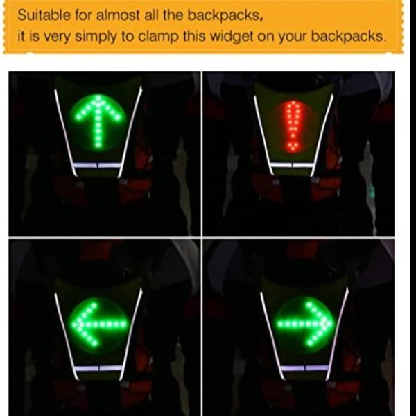 LED Turn Signal Vest/ Bike Pack Accessory - Direction Indicator Together with Smart Remote Control Easily Turn Signal & Flashlight