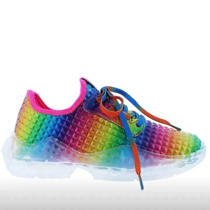 Lace-Up Colorful Flat Sneakers