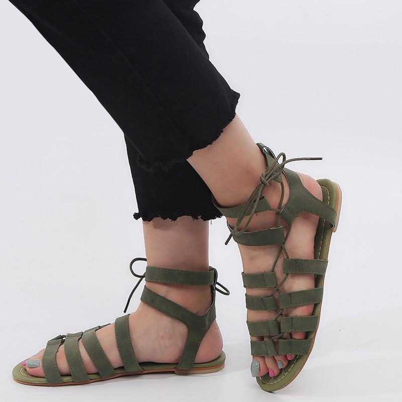 Lace Up Flat Comfy Sandals
