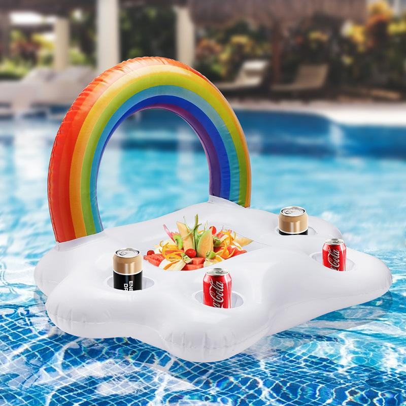 Inflatable Pool Drink Cup Holder - Clouds Rainbow Pool Floats Swimming Pool Toys