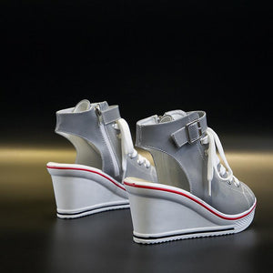 Women's Blinking Wedge Slingback Canvas Shoes