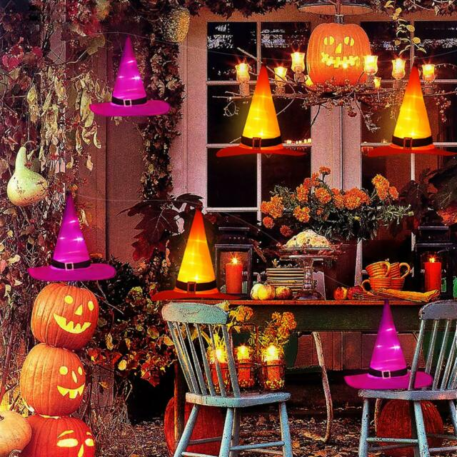 Halloween Decorations Witch Hats Caps String Lights