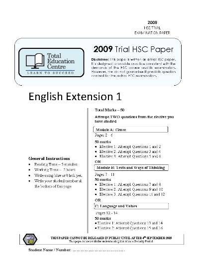 2009 Trial HSC English Extension 1