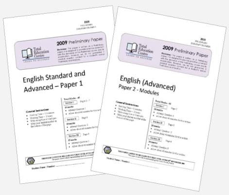 2009 Trial Preliminary English Advanced Papers 1 & 2