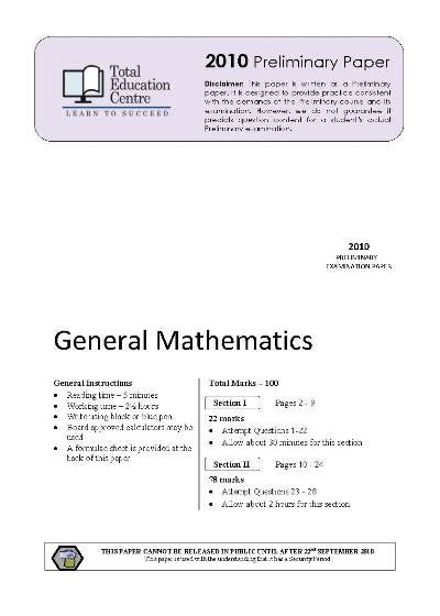 2010 Preliminary General Mathematics (Yr 11)