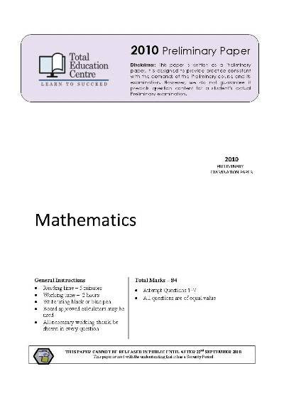 2010 Preliminary Mathematics (Yr 11)