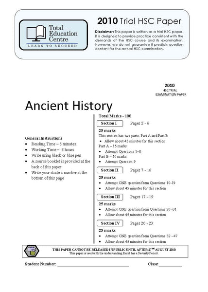 2010 Trial HSC Ancient History