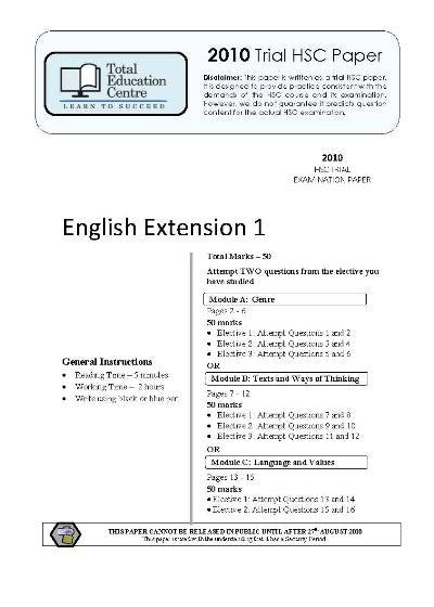 2010 Trial HSC English Extension 1