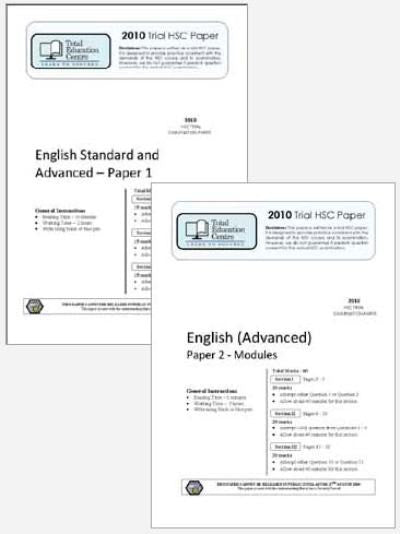 2010 Trial A HSC English Advanced Papers 1 & 2