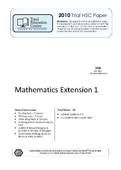 2010 Trial HSC Ext 1 Mathematics
