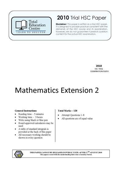 2010 Trial HSC Ext 2 Mathematics