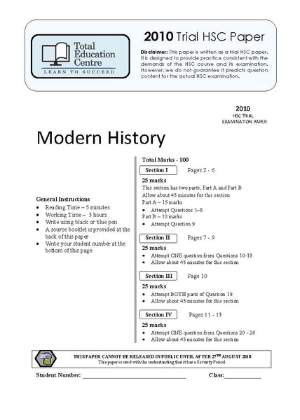 2010 Trial HSC   Modern History