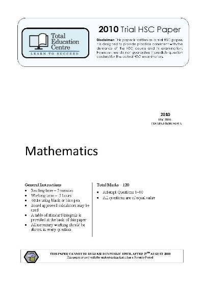 2010 Trial Mathematics paper