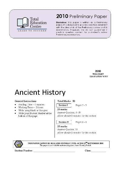 2010 Trial Prelim (Yr 11) Ancient History
