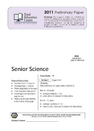 2011 Preliminary Senior Science (Yr 11)