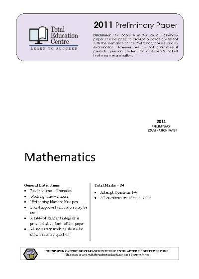2011 Preliminary Mathematics (Yr 11)