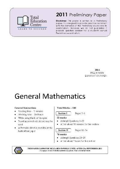 2011 Preliminary General Mathematics (Yr 11)