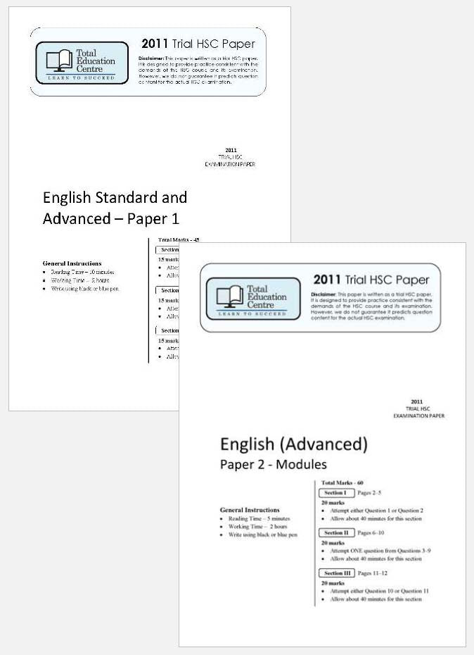 2011 Trial B HSC English Advanced Papers 1 & 2