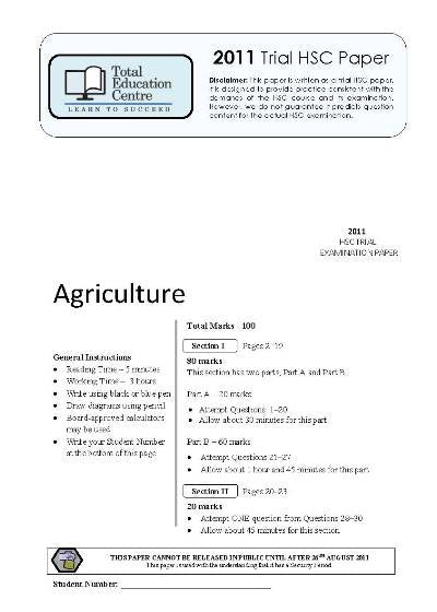 2011 Trial HSC Agriculture paper