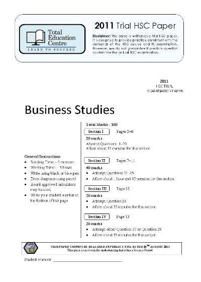 2011 Trial HSC Business Studies