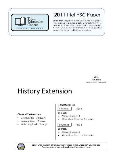 2011 Trial HSC Extension History