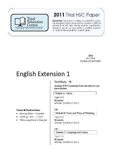 2011 Trial HSC English Extension 1