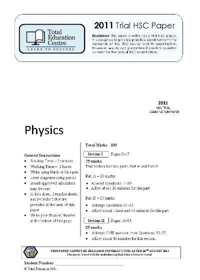 2011 Trial HSC Physics paper