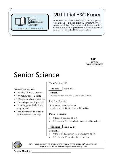 2011 Trial HSC Senior Science paper