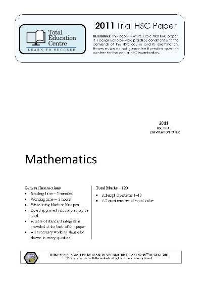 2011 Trial Mathematics paper