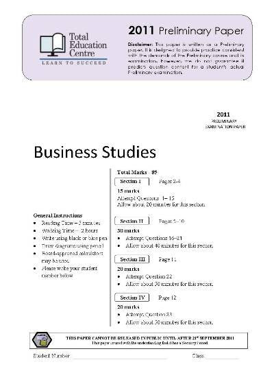 2011 Trial Prelim (Yr 11) Business Studies