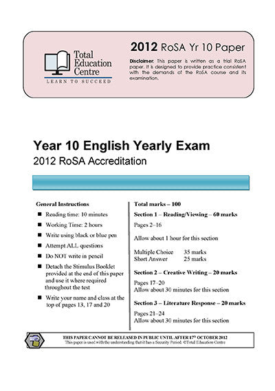 2012 Year 10 RoSA English Examination