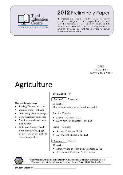 2012 Preliminary Agriculture (Yr 11)