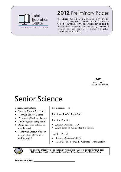 2012 Preliminary Senior Science (Yr 11)