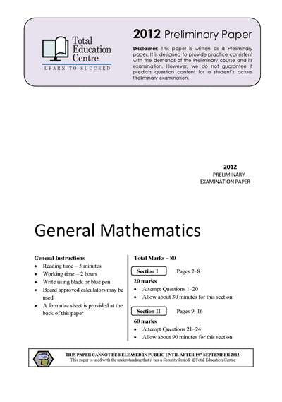 2012 Preliminary General Mathematics (Yr 11)