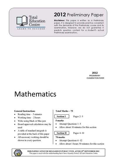 2012 Preliminary Mathematics (Yr 11)