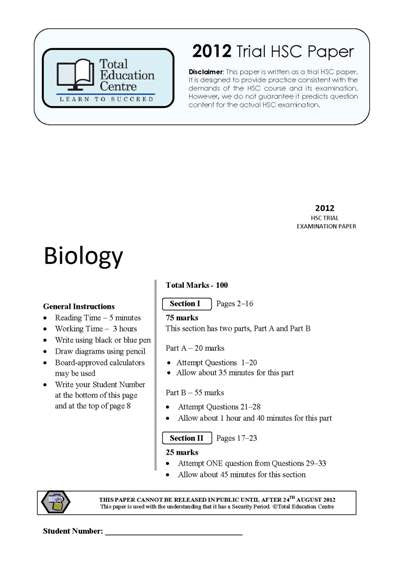 2012 Trial HSC Biology paper