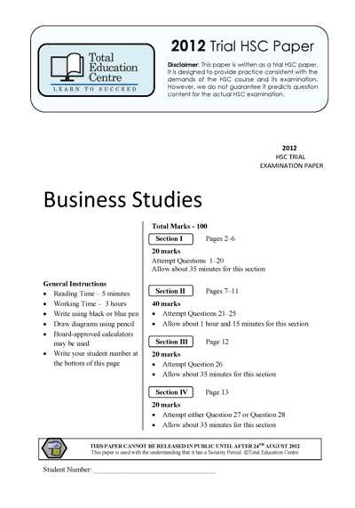 2012 Trial HSC Business Studies