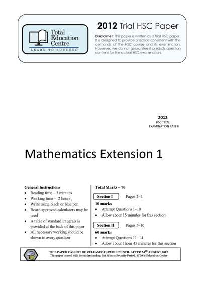 2012 Trial HSC Ext 1 Mathematics