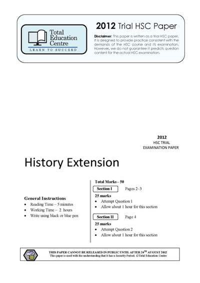 2012 Trial HSC Extension History