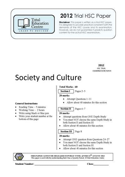 2012 Trial HSC Society and Culture