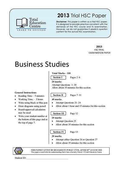 2013 Trial HSC Business Studies