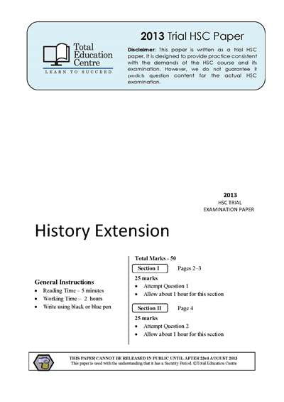 2013 Trial HSC Extension History