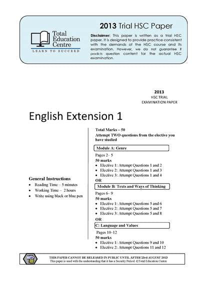 2013 Trial HSC English Extension 1