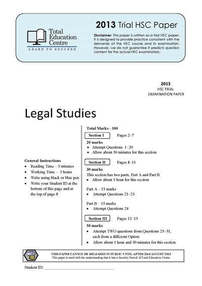 2013 Trial HSC Legal Studies