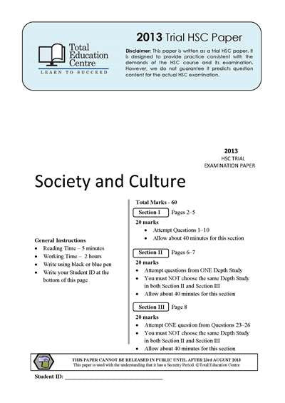 2013 Trial HSC Society and Culture