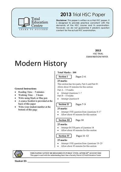 2013 Trial HSC Modern History